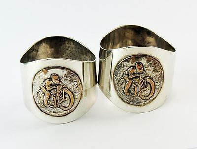 MOTOR CYCLIST Vintage SILVER PLATED NAPKIN RINGS c1930