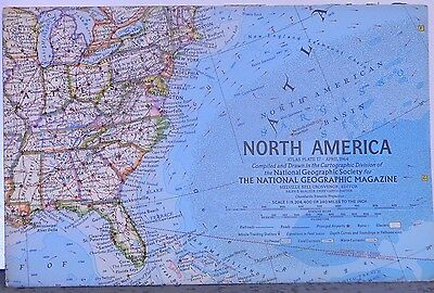 Vintage 1964 National Geographic Map of North America