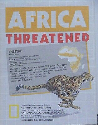 Vintage 1990 National Geographic Map of Africa Threatened