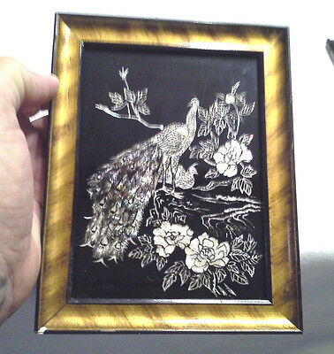 Beautiful Mother of Pearl Inlay Peacock Framed Picture