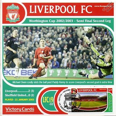 Liverpool 2002-03 Sheffield Utd (Michael Owen) Football Stamp Victory Card #219