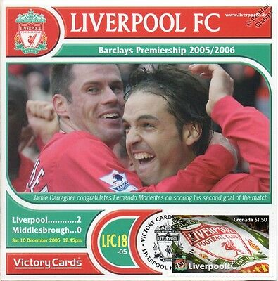 Liverpool 2005-06 Middlesbrough (Morientes) Football Stamp Victory Card #518