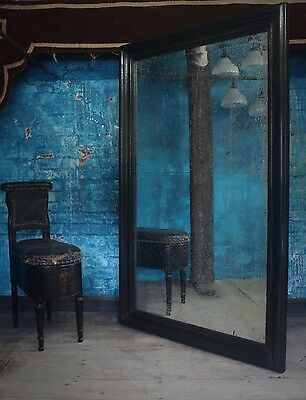 Huge Tailors Mirror Foxed Ebonised Antique Shopfitting Industrial Haberdashery