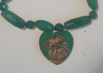 Brussels Griffon Dog Beaded Necklace Hand Painted Ceramic Pendant OOAK