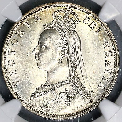1887 NGC MS 64 Victoria Silver 1/2 Crown GREAT BRITAIN Coin (15112801D)