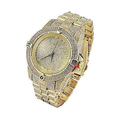 9921d5512ee73 GOLD TONE MENS Watch Lab Diamonds Iced Out Hip Hop Bling Analog Techno Pave