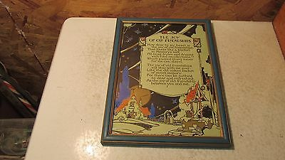 """Antique  Motto Print """"The Joy Of Old Friendships""""  Volland"""