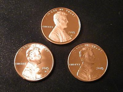 2015 P D S Lincoln Shield Cent Year Set Gem Proof & BU P&D US 3 Coin Lot
