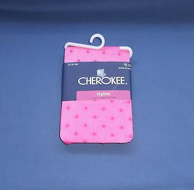 CHEROKEE GIRLS PINK TIGHTS WITH PINK MINI DOTS SIZE 12-24 Months New