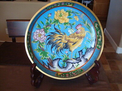"Large 15"" Chinese Cloisonne Bowl Rooster w/Stand Fine Quality"
