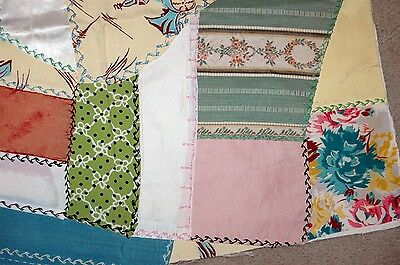 Antique Crazy Quilt Top Piece Colorful Stitching Interesting Prints Excellent