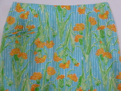 THE LILLY VINTAGE Lilly Pulitzer 60s Retro Graphic Floral A Line Cotton Skirt M