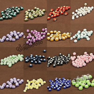 Wholesales Round Loose Spacer Glaze DIY Ceramic Hole Beads Craft Jewelry Finding