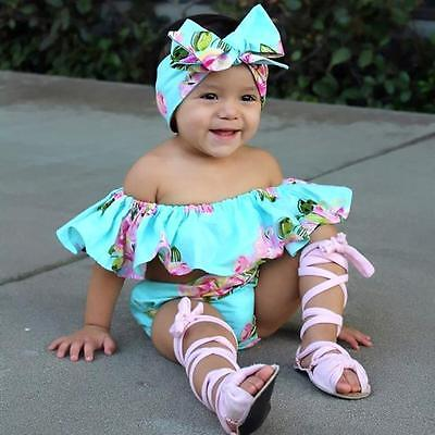 Hot Floral Toddler Baby Girl Off Shoulder T Shirt Tops Shorts Outfit Clothes Set