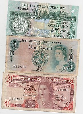Three Well Used £1 Banknotes From Gibraltar, Guernsey & The Isle Of Man