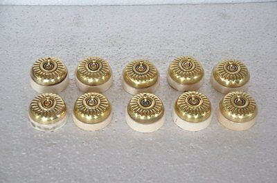 10 Pc Vintage Melon Shape Brass & Ceramic Victorian Electric Switches , Germany