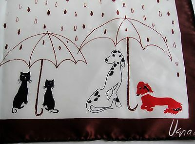Vintage 1960s Vera Neumann Raining Cats and Dogs Scarf