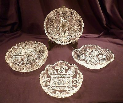 Collection of 4 American Brilliant Period Cut Crystal Low Bowls, Antique Glass
