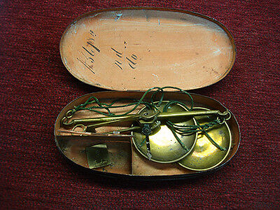 ANTIQUE 1800's CASED BALANCE BEAM POCKET PAN SCALE IN ORIGINAL CASE - NICE