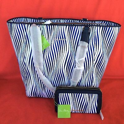 WAVY STRIPE Vera Bradley LARGE Purse ELLA Tote & WALLET Leather Trim New w Tags