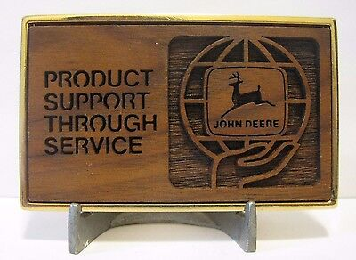 John Deere Logo Phoenix Employee Service School Wood Laser Belt Buckle Product