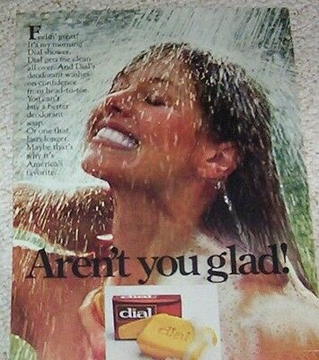 1978 ad page - Dial Soap CUTE GIRL shower -ARENT you GLAD- vintage print Advert