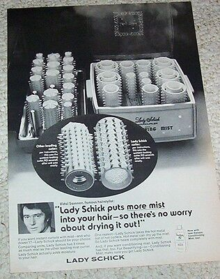 1971 vintage ad -Vidal Sassoon hairstylist Lady Schick hair curlers PRINT ADVERT