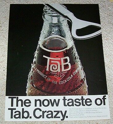 1966 ad page - TAB 1-crazy calorie soda pop Coca-Cola drink Vintage Print ADVERT