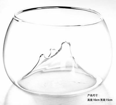 Clear Rockery Design Flower Glass Vase Fish Tank Aquarium Home Decor 10x15cm