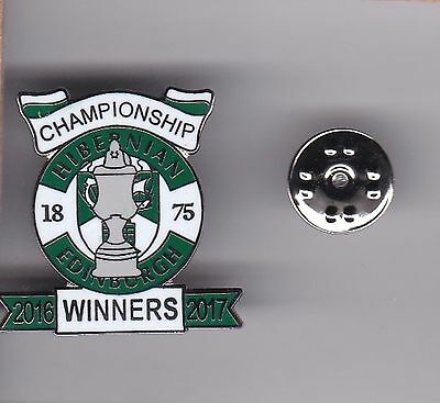 "Hibernian ""Championship Winners 2016-2017""  - lapel badge butterfly fitting"