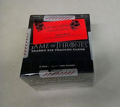 Game of Thrones Season 6 Factory Sealed ARCHIVE BOX Near Master Set - Series Six