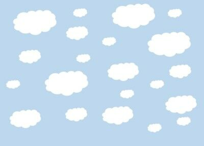 Set of 30 cloud vinyl stickers.Cloud wall art.Nursery kids childs bedroom.