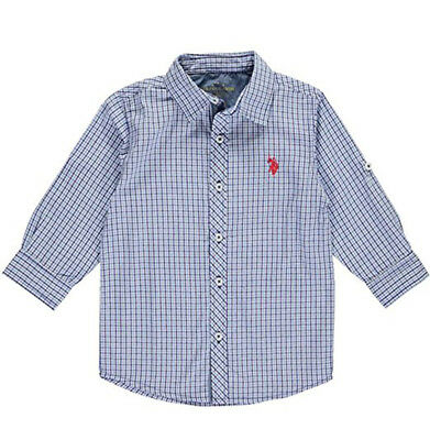 US Polo Assn Little Boys Plaid Blue Woven Shirt Size 2T 3T 4T 4 5/6 7