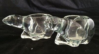 2 Crystal Polar Bear Candle Holder - Indiana Glass - Votive Candles
