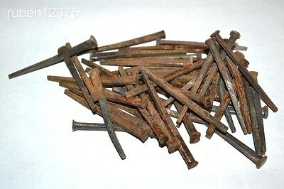 """50 Old Antique Square Iron 2 1/2"""" Vintage Rustic Nails From Old Estate Barn, #a"""
