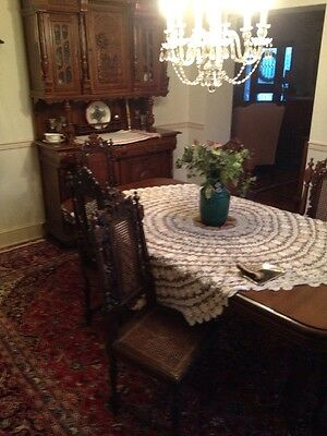 Antique Dining Room Set  Renaissance Xvii Th Carved Wooden Walnut