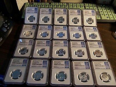 (Lot Of 20)Ngc 2016 S Silver 5 Coin 25C Pf 69 Ultra Cameo-First Day Of Issue