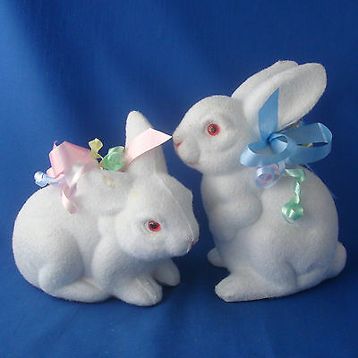 """2 flocked white Easter Bunny rabbit coin banks live size 6"""" & 8"""" tall viintage"""