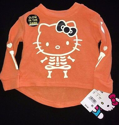 Nwt New Hello Kitty Glow In The Dark Halloween Shirt Top 12m Baby & Toddler Clothing