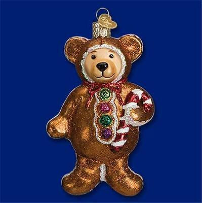 Gingerbread Teddy Bear Old World Christmas Glass Iced Cookie Ornament Nwt 12439