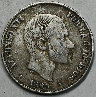 1885 PHILIPPINES Spain Colony Silver 50 Centimos (17041531R)