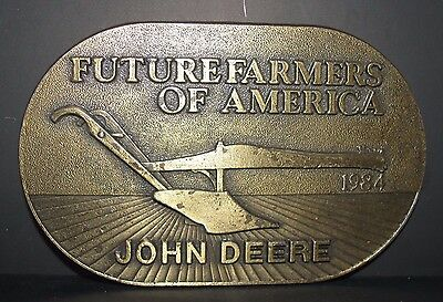 Vintage John Deere 1984 FFA Future Farmers of America Plow Brass Belt Buckle jd