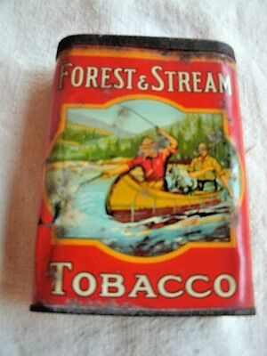 FOREST & STREAM Pocket Tobacco Tin.   Canoe Design.