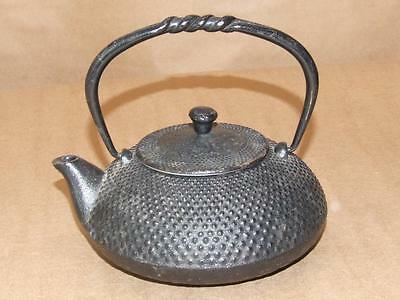 VTG Signed JAPANESE Black Cast Iron Tetsubin Zen Tea Kettle Hobnail Pattern 5.5""