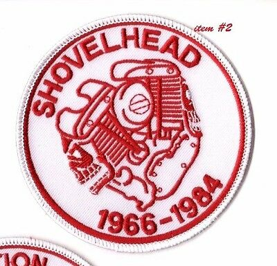 CAFÉ RACER ROCKERS FOREVER TON-UP BOYS IRON-ON white PATCH: SHOVELHEAD V2 ENGINE