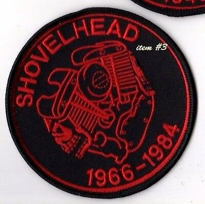 CAFÉ RACER ROCKERS FOREVER TON-UP BOYS IRON-ON red PATCH: SHOVELHEAD V2 ENGINE