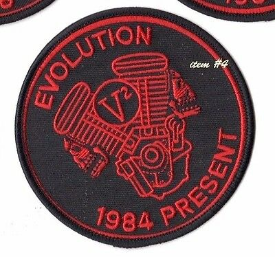 CAFÉ RACER ROCKERS FOREVER TON-UP BOYS IRON-ON red PATCH: EVOLUTION V2 ENGINE
