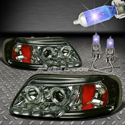 Smoked Dual Halo Projector+Led 1P Headlight+Xenon Bulb For 97-03 F150/expedition