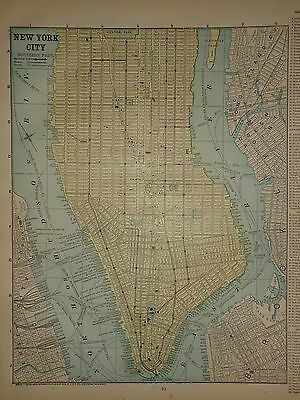 Vintage 1890 New York City Map Old Antique Original Atlas Map 90/042117