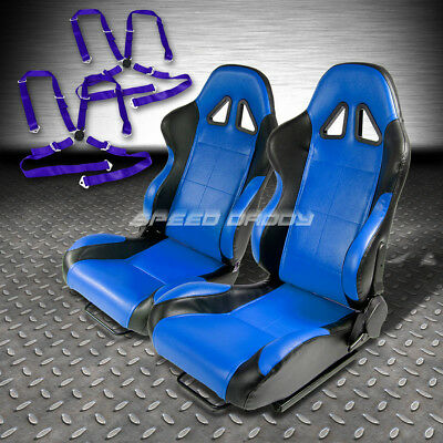 2 X Blue/black Pvc Leather Racing Seats+Slider+4-Point Blue Camlock Harness Belt